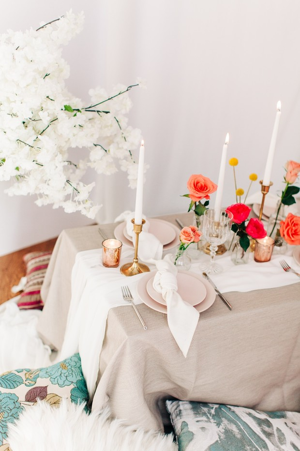 neutral blush and coral bridal shower table