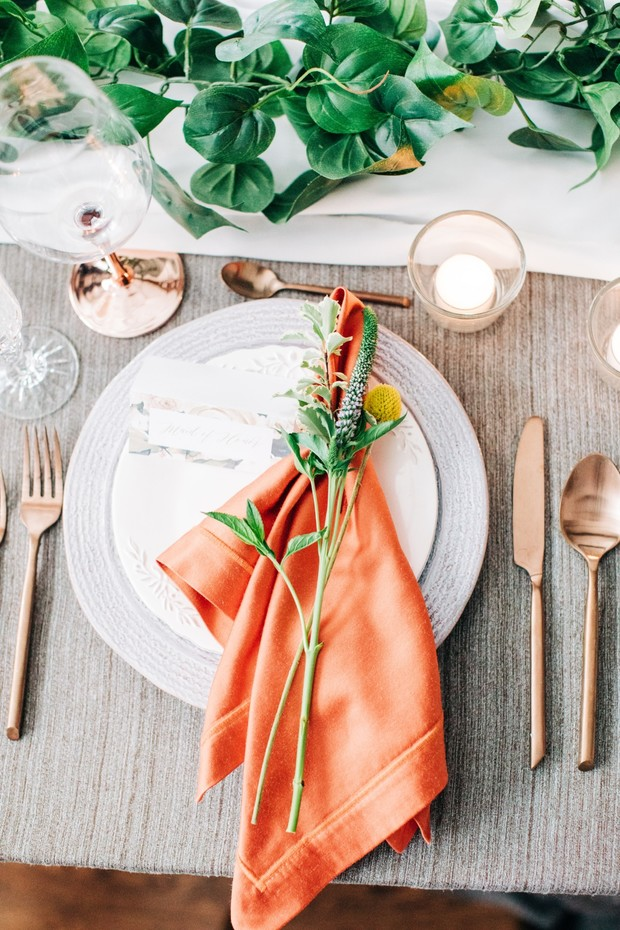 copper orange and grey wedding place setting