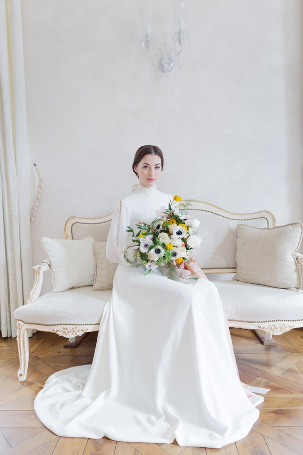 bride in long sleeved Yoora Studio wedding dress