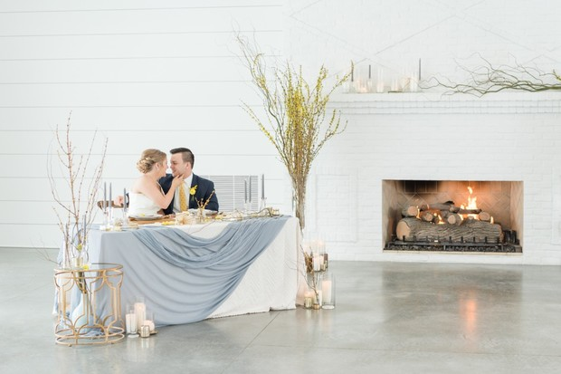 fireplace winter wedding
