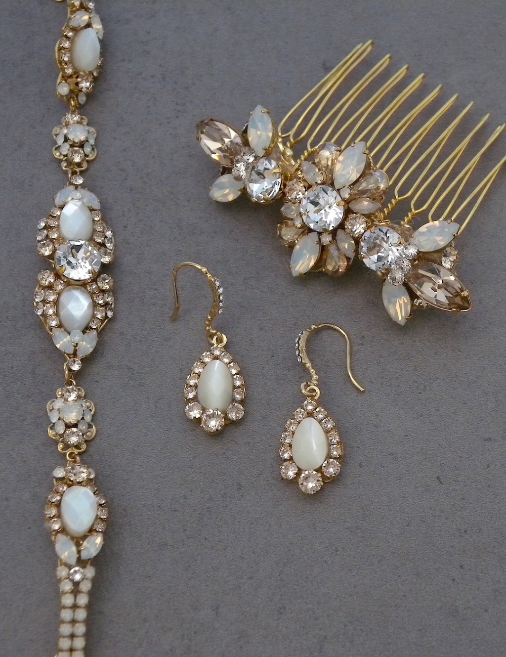 A toast to champagne! Just a few of our pieces from our Haute Bride Jewelry & Accessories collection. Bridal jewelry, earrings