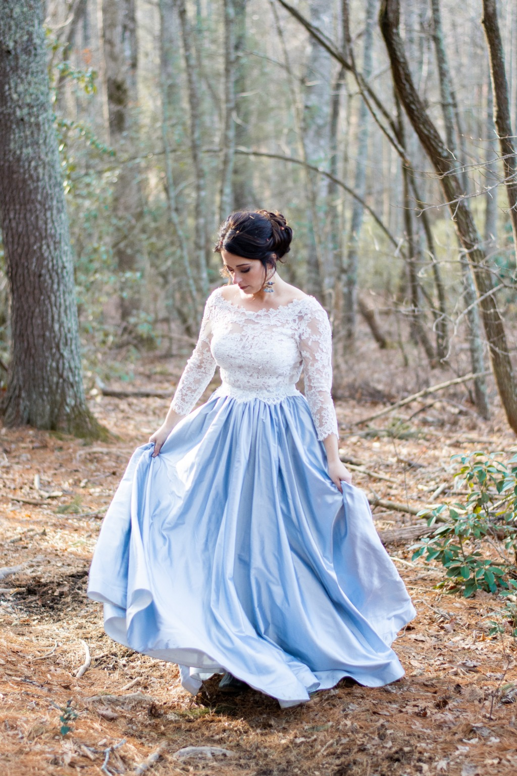 Sweet pea wedding inspiration. Wedding dress: Lea-Ann Belter Celestia top and Sky skirt in blue | photographer: Victoria Grace Photography