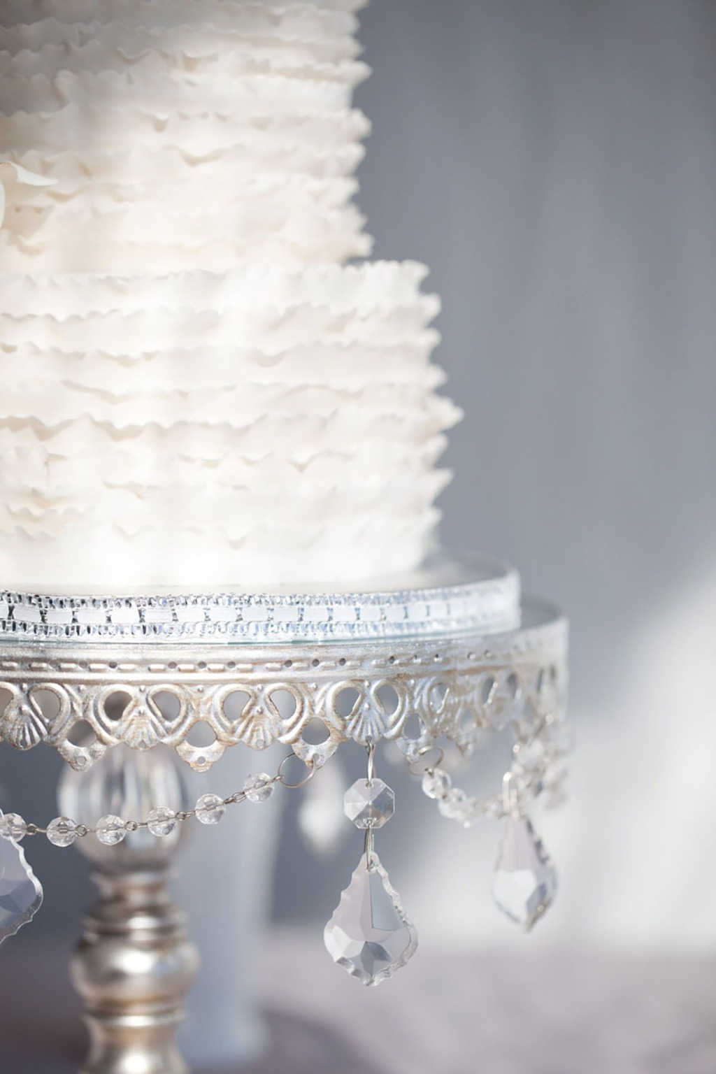 Wedding Details! The perfect wedding cake stand...Antique Silver Chandelier Cake Stand created by Opulent Treasures. Photography by