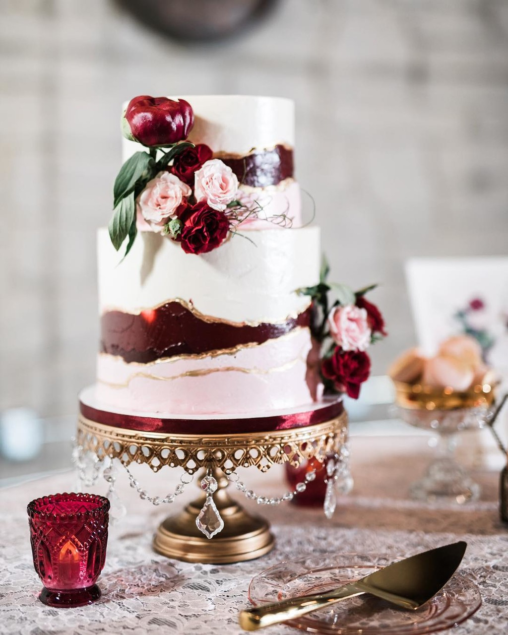 Romantic Burgundy & Blush Wedding Cake on our #original