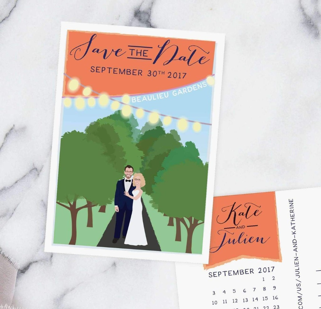 These Save the Date cards feature a custom couple portrait Illustration with a custom background or location of your choice. We can