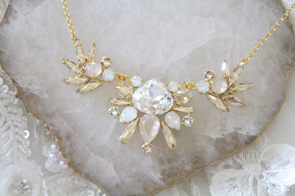 A gorgeous handcrafted gold Bridal necklace created with Swarovski crystals in soft colors. A perfect accessory for the bride or any