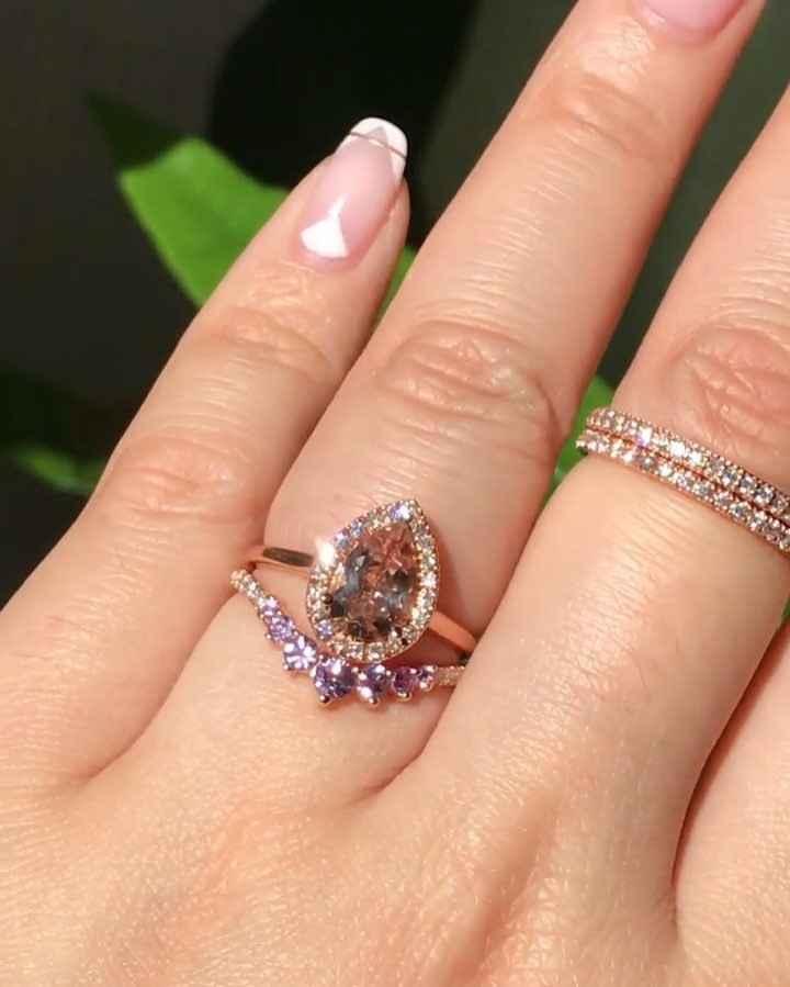 Feminine and sweet stack 💗💜 Peach meets purple in our Luna Halo Diamond Pear Morganite ring with 7 Stone Purple Sapphire and