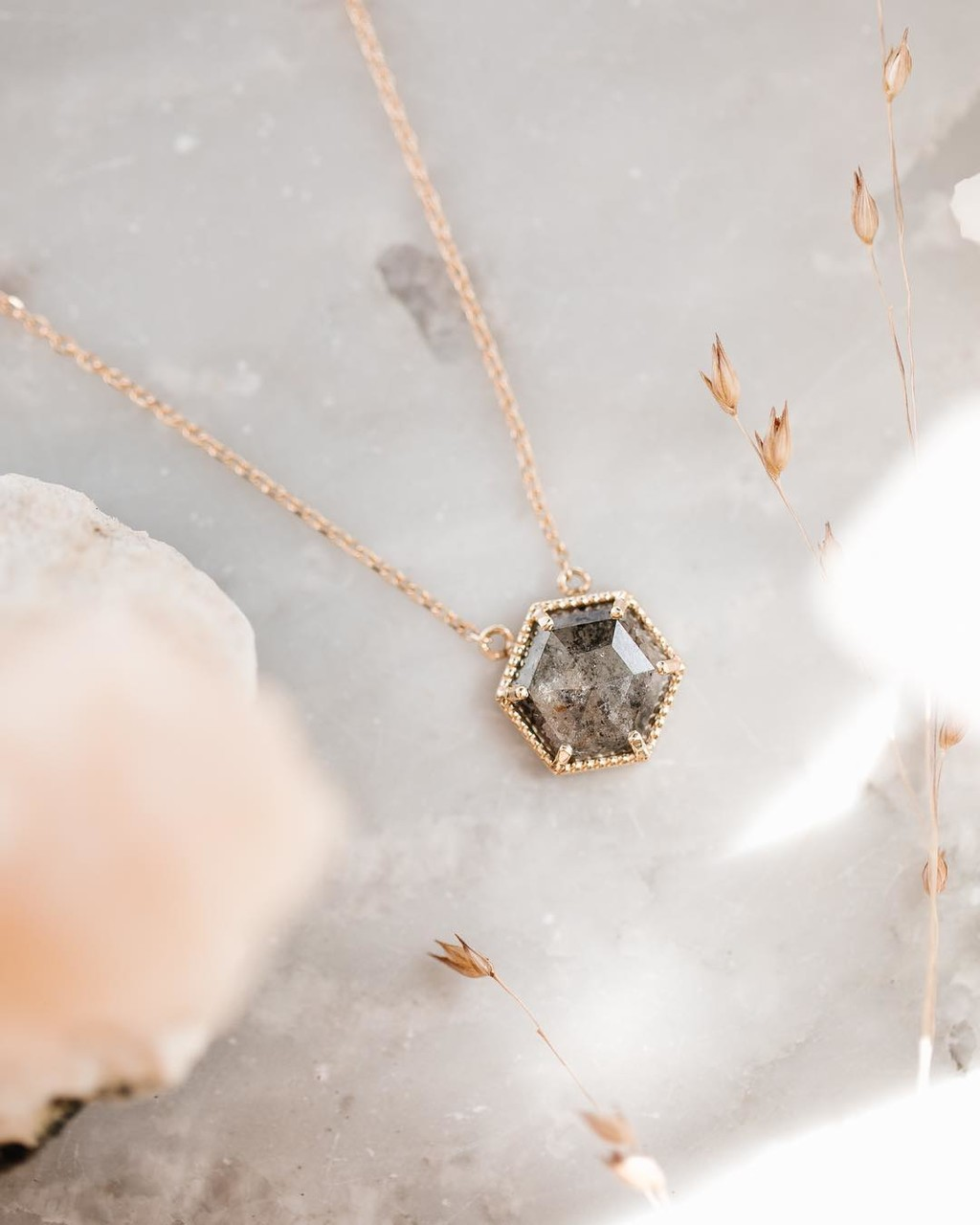 100% would wear this 14k yellow gold salt & pepper diamond necklace every single day.