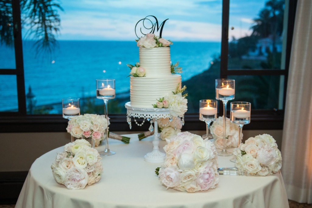 Beautiful California ocean views with a white and blush wedding color palette by Jane Alexander Events with Opulent Treasures white