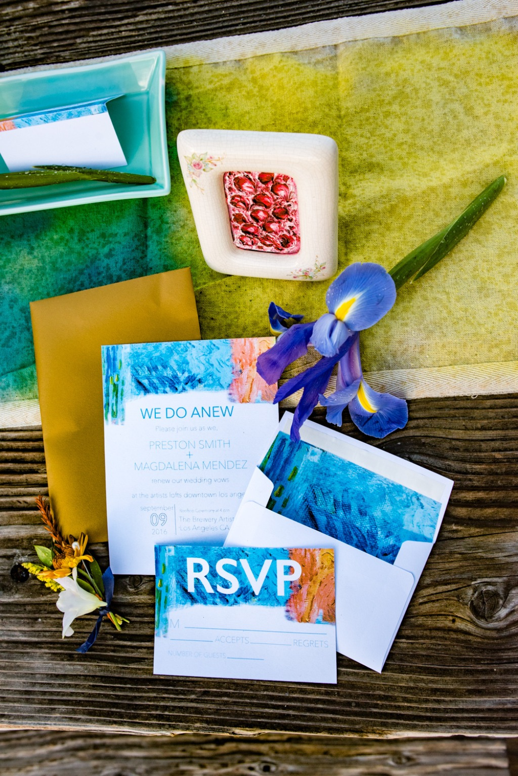 This abstract-art inspired vow renewal's design was heavily influenced by our artist groom's paintings. The bold colors he used in