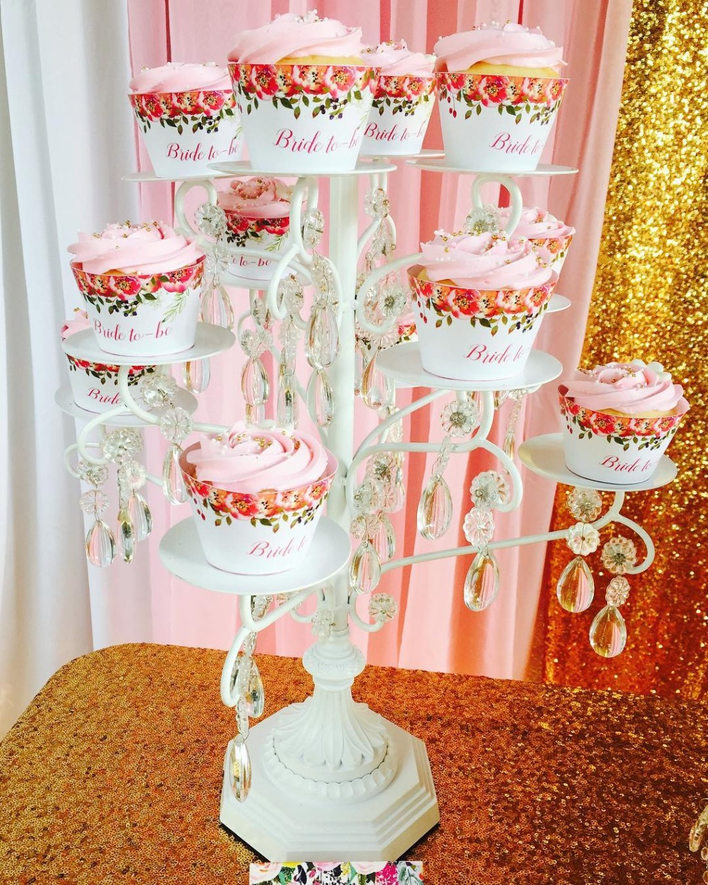 Bridal Shower Sweets by @stephs.sweet.creations with @opulenttreasures White Chandelier Cupcake Stand