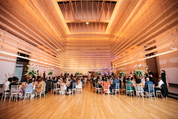 dramatic wedding reception space at Queens Museum