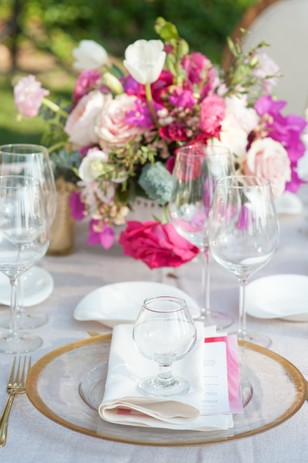 gold white and pink place setting