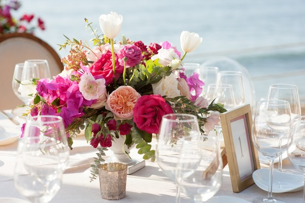 floral wedding centerpiece in pink and blush