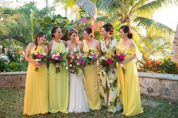 bridesmaids in lemon yellow