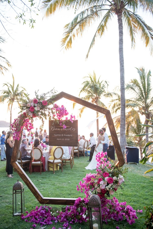 giant floral wreath reception decor