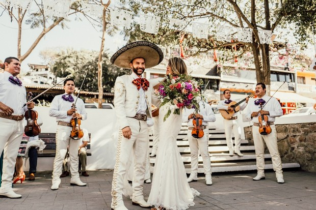 all white wedding party in Mexico
