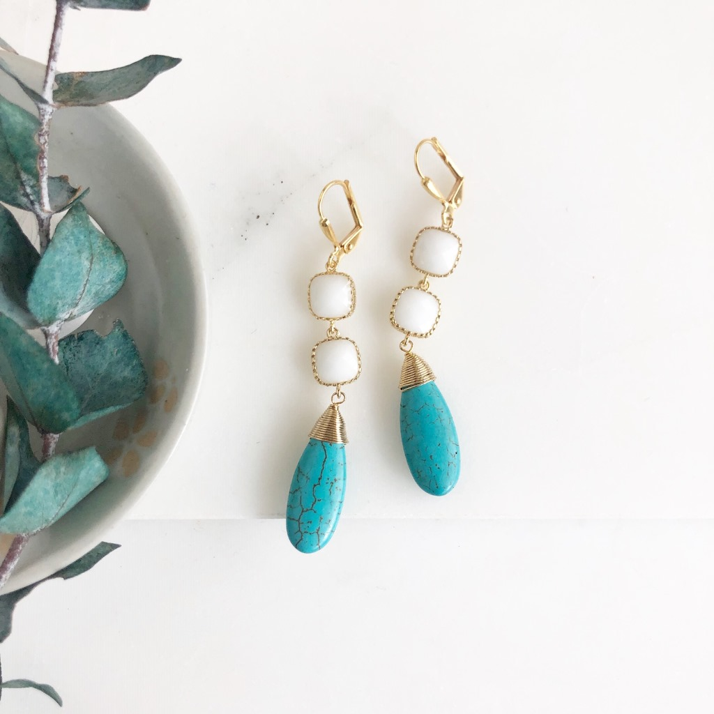 These beautiful earrings hang about 2.25 long. Gold plated brad ear wires.