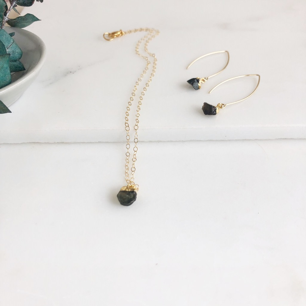 Dainty Tourmaline Set in Gold - Black Toned Tourmaline.