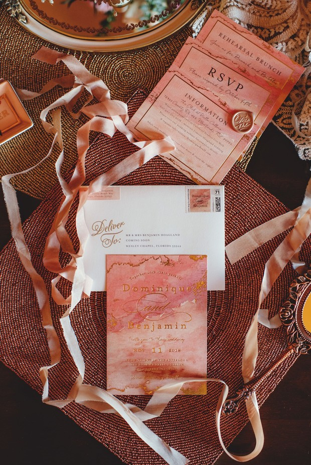 watercolor and gold invitation suite