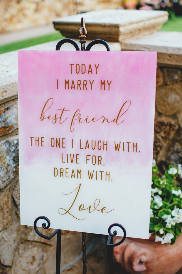 pink watercolor wedding sign