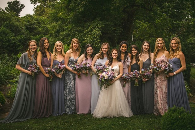 bridal party in blues and purples