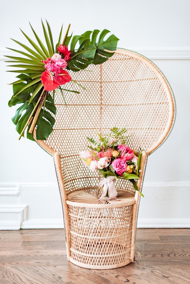 tropical themed wicker throne