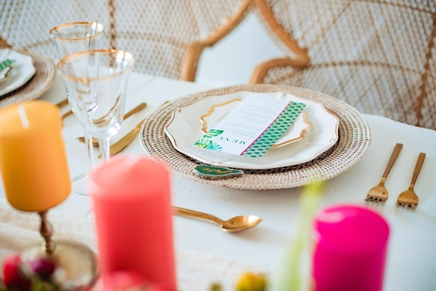 pink yellow and gold wedding table