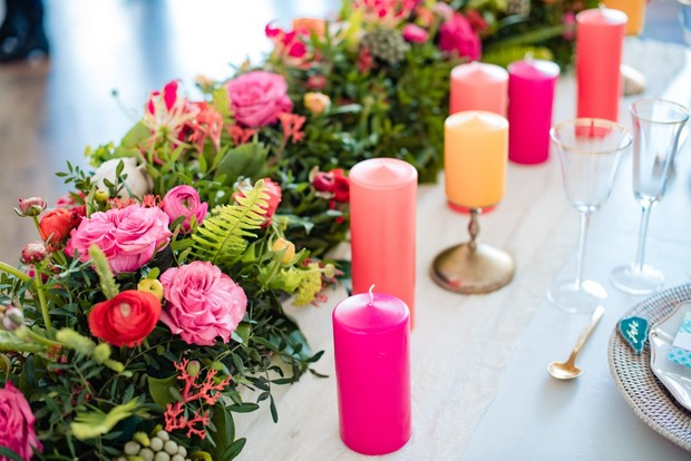 pink peach and yellow tropical themed table