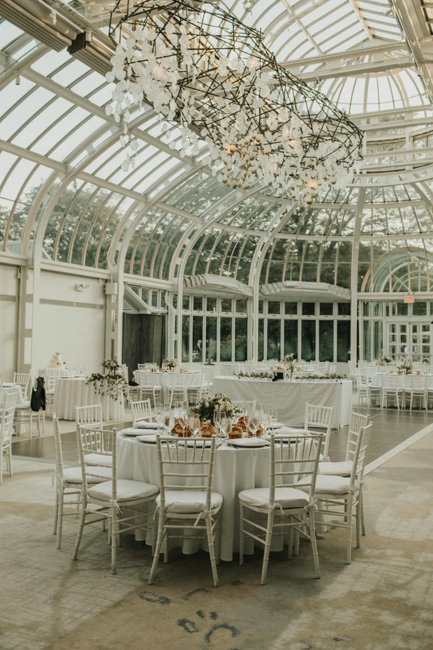 indoor wedding reception at The Palm House at Brooklyn Botanic Garden