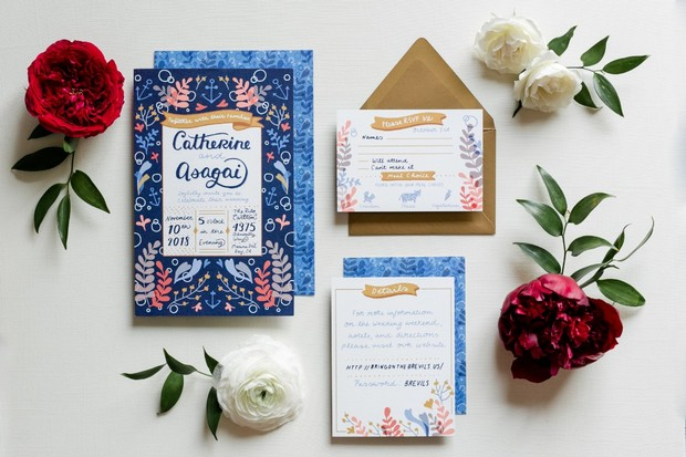 floral blue and gold wedding invitations
