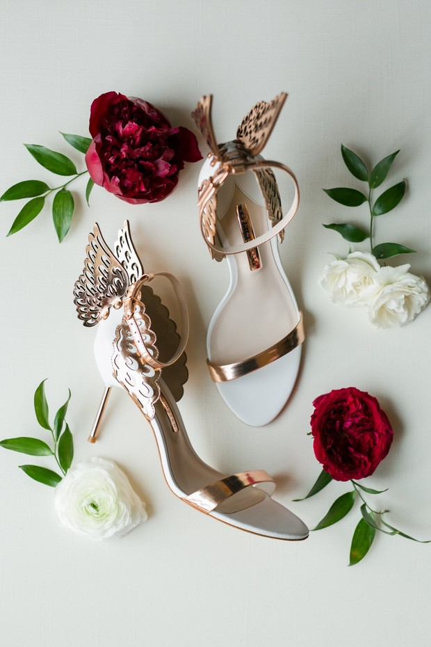 gold butterfly wedding shoes