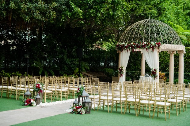 wedding ceremony in a garden