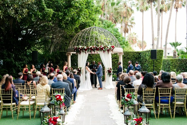 glam garden wedding ceremony