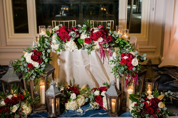 gold and burgundy sweetheart table