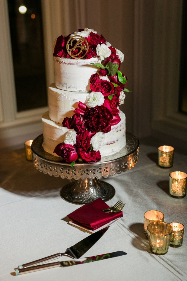 white and burgundy wedding cake