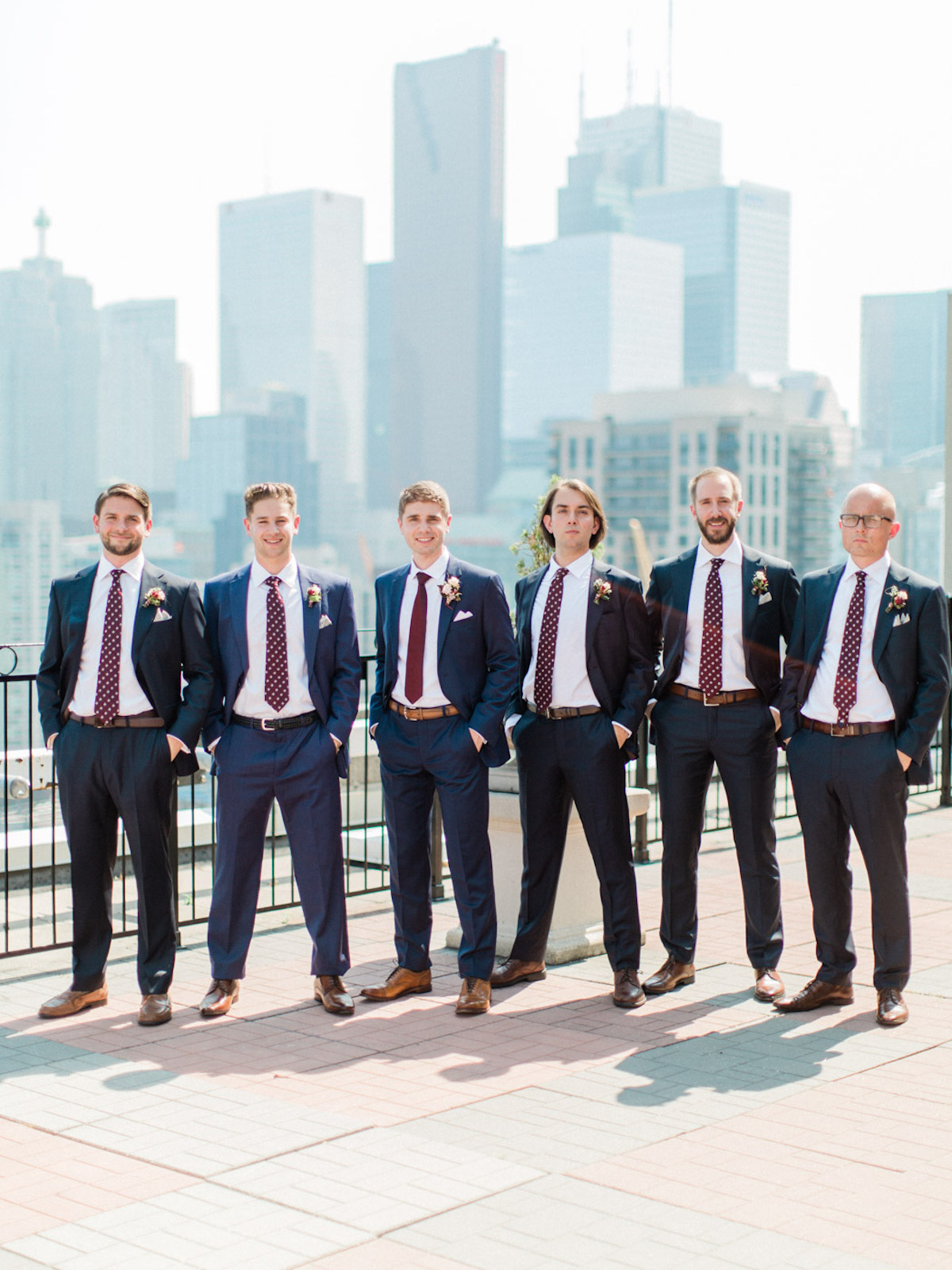 groomsmen in polka dot ties