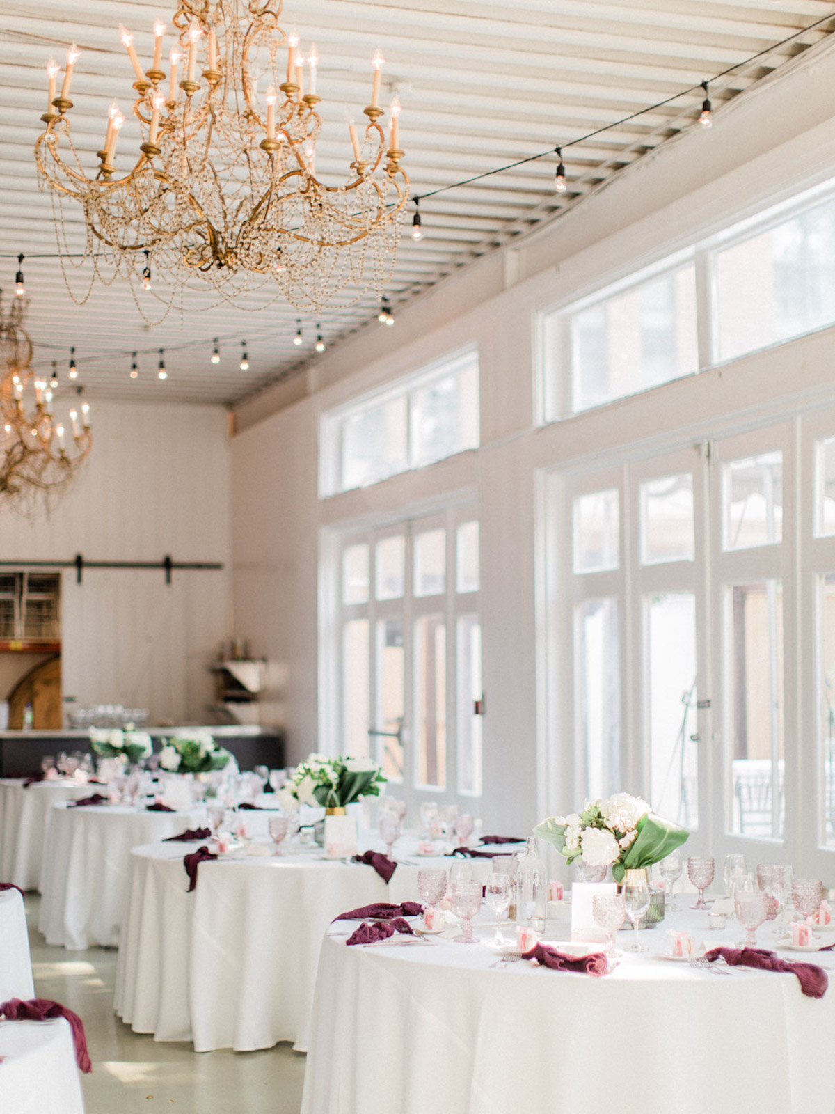 minimal chic indoor wedding reception