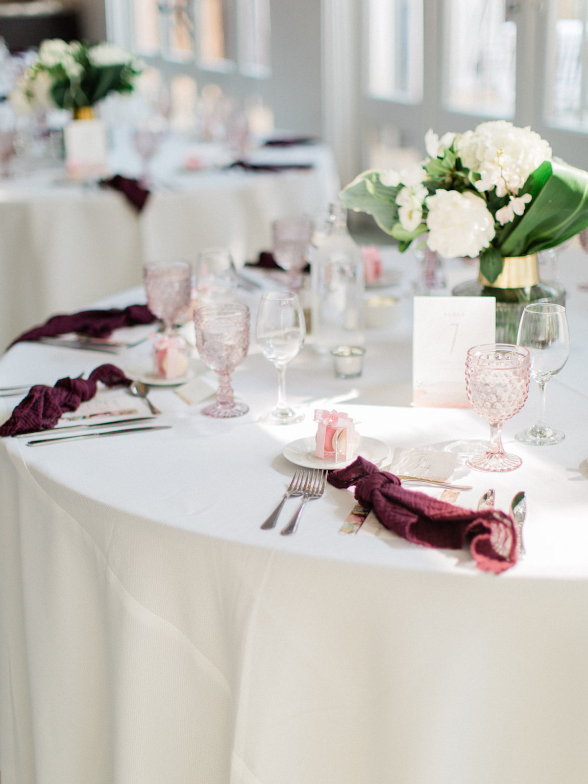 blush and red reception table design