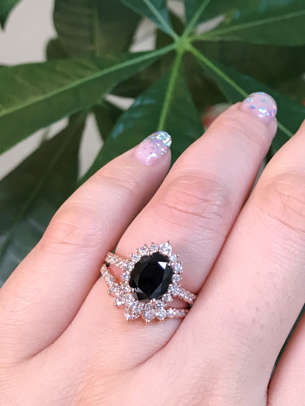 Pairing Tiara Halo rings and our 7 Stone Diamond Wedding Ring is a great choice for the black gemstone lover ~ See more from La More