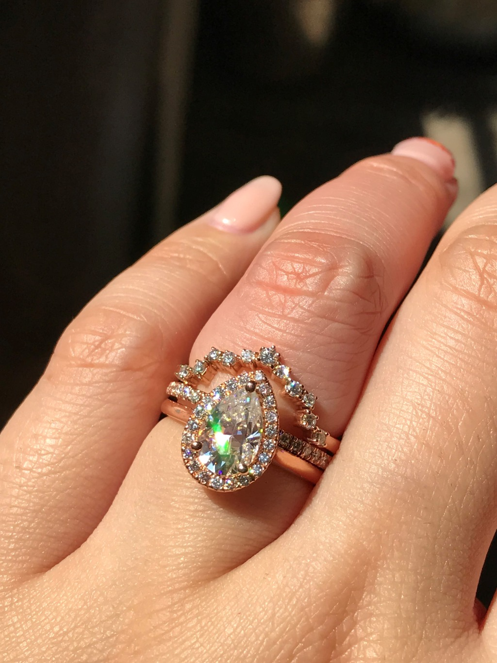 Pear Cut Engagement Rings are the show stoppers of 2019! Our Luna Halo Pear Moissanite is one of our top selling rings ~ Shop pear
