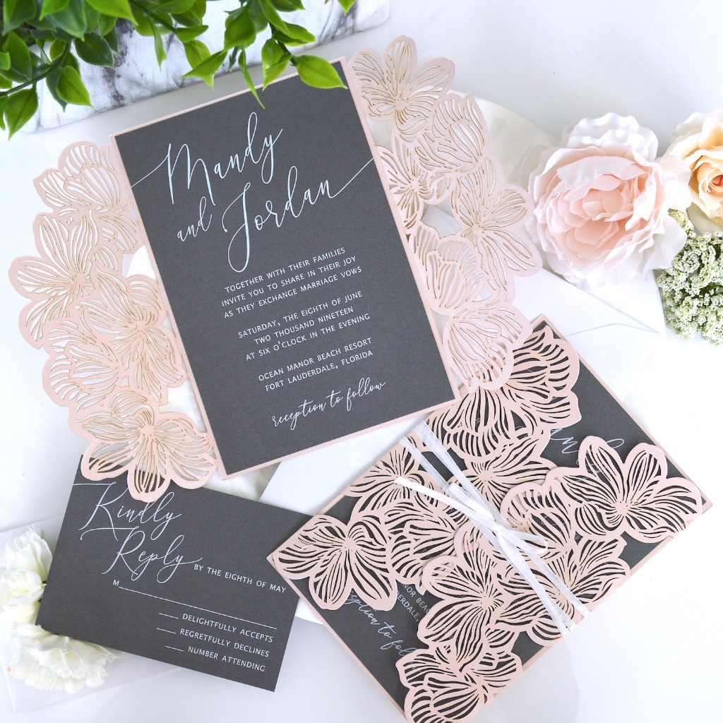 These delicate laser cut flowers against the steel gray interior is so dramatic with white ink printing. 😍