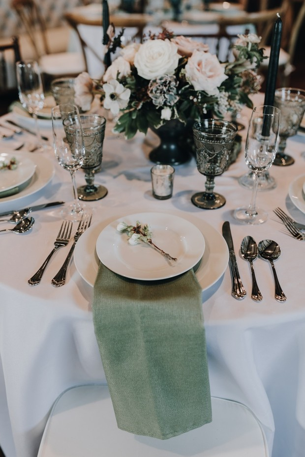 sage and white wedding table decor