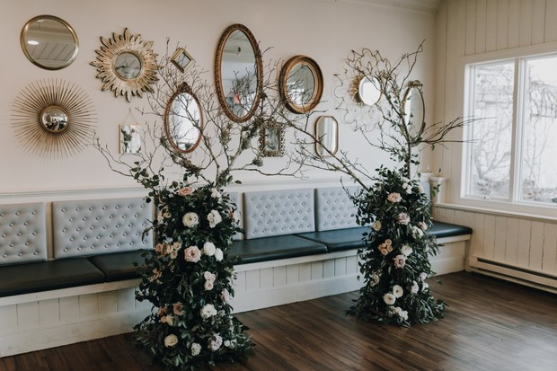 wedding ceremony floral backdrop decor