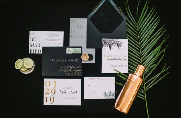 modern black white and gold wedding invitation suite
