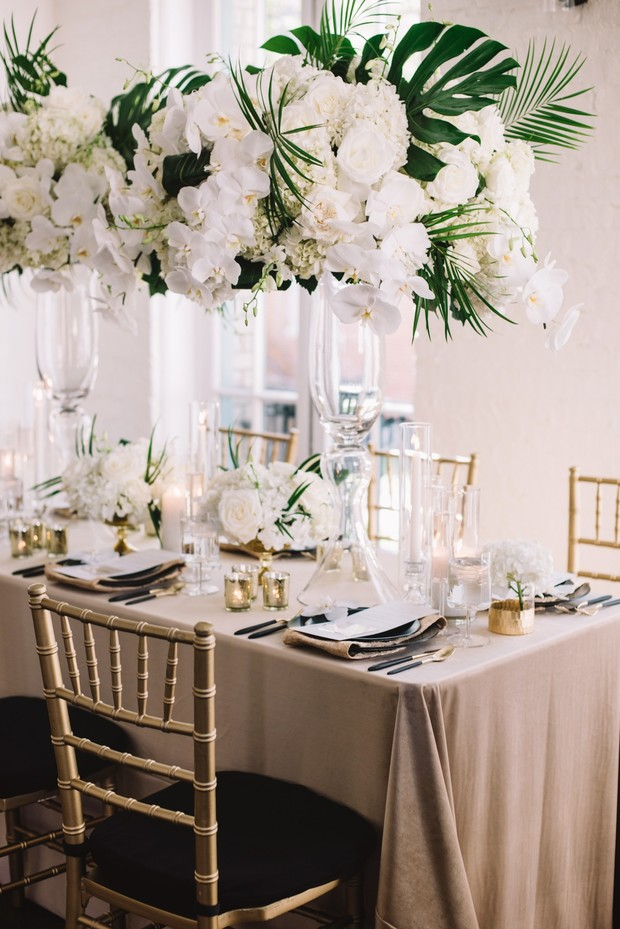 white gold and green glam wedding table decor