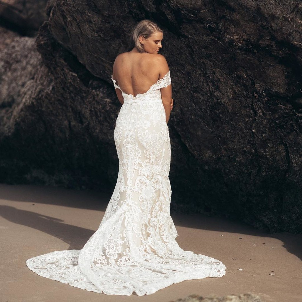 YEEESSSSS!!! This stunning back & off-shoulders lace detailing of the amazing new KENTLEE gown on total GODDESS