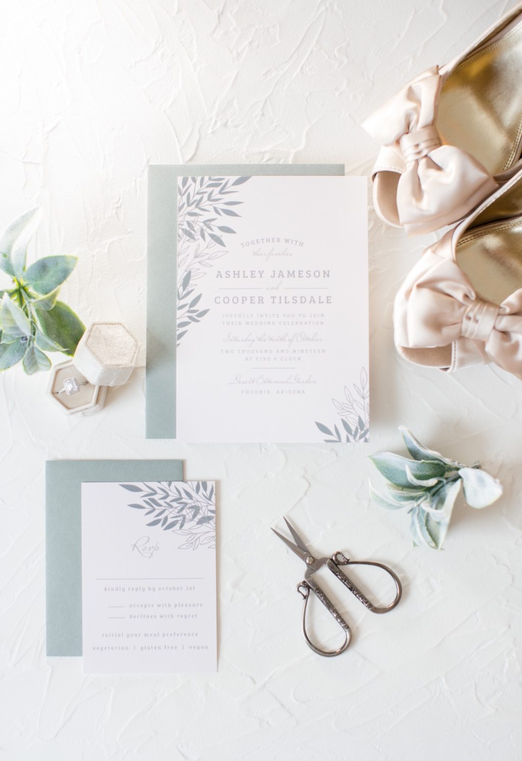 Our Lakeside Leaves Wedding Invitations Suite is Perfect for your neutral, lovely, nuptials.