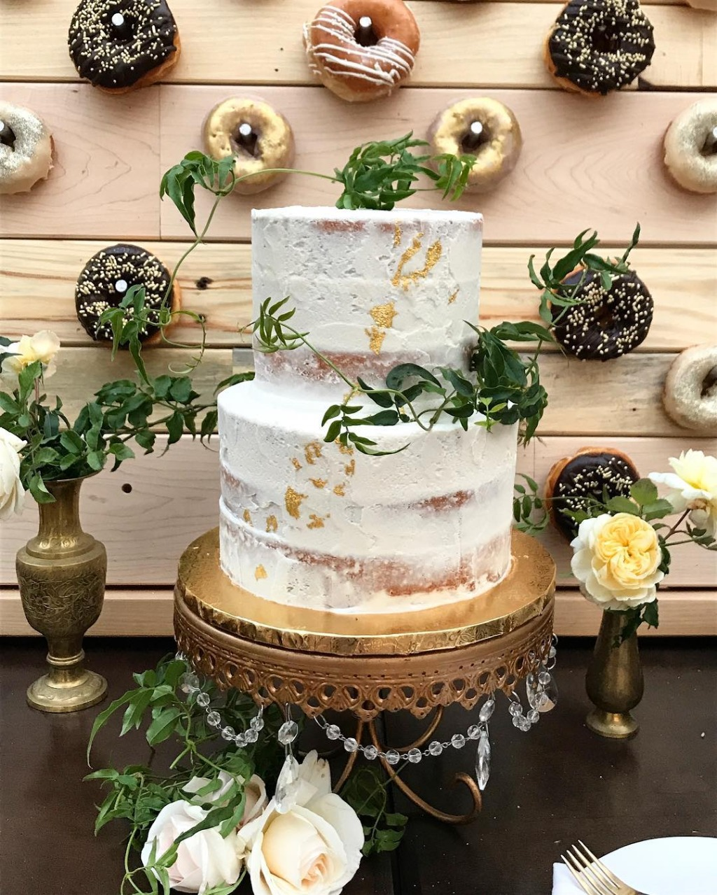 Wedding Cake & Donut Walls!! by Plumeria Cake Studio with wedding cake stand by Opulent Treasures. Opulent Treasures offers entertaining