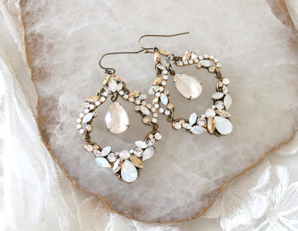 17679bb48a9865 Handcrafted Antique gold Bridal chandelier earrings with Swarovski white  opal, golden shadow and ivory cream